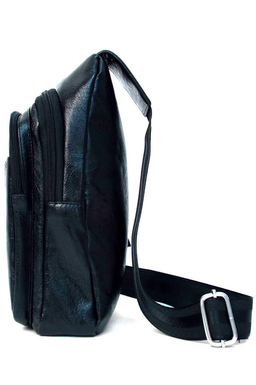 Left side of Black Faux Leather Crossbody Sling Bag with Front Pocket and Zipper Compartments