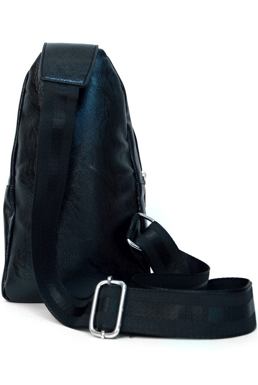 Back view of Black Faux Leather Crossbody Sling Bag with Front Pocket and Zipper Compartments