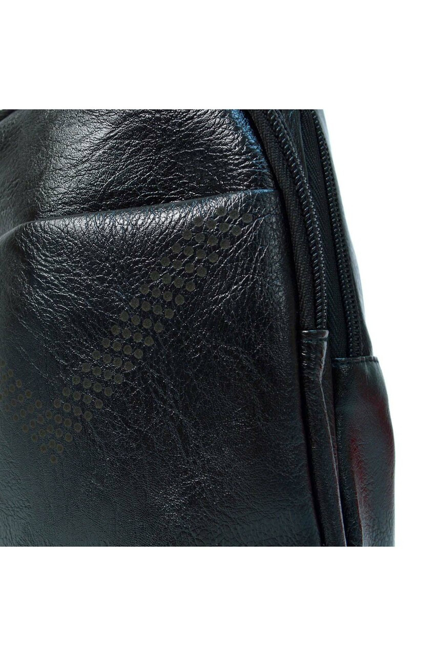 CLose-up of Black Faux Leather Crossbody Sling Bag with Front Pocket and Zipper Compartments