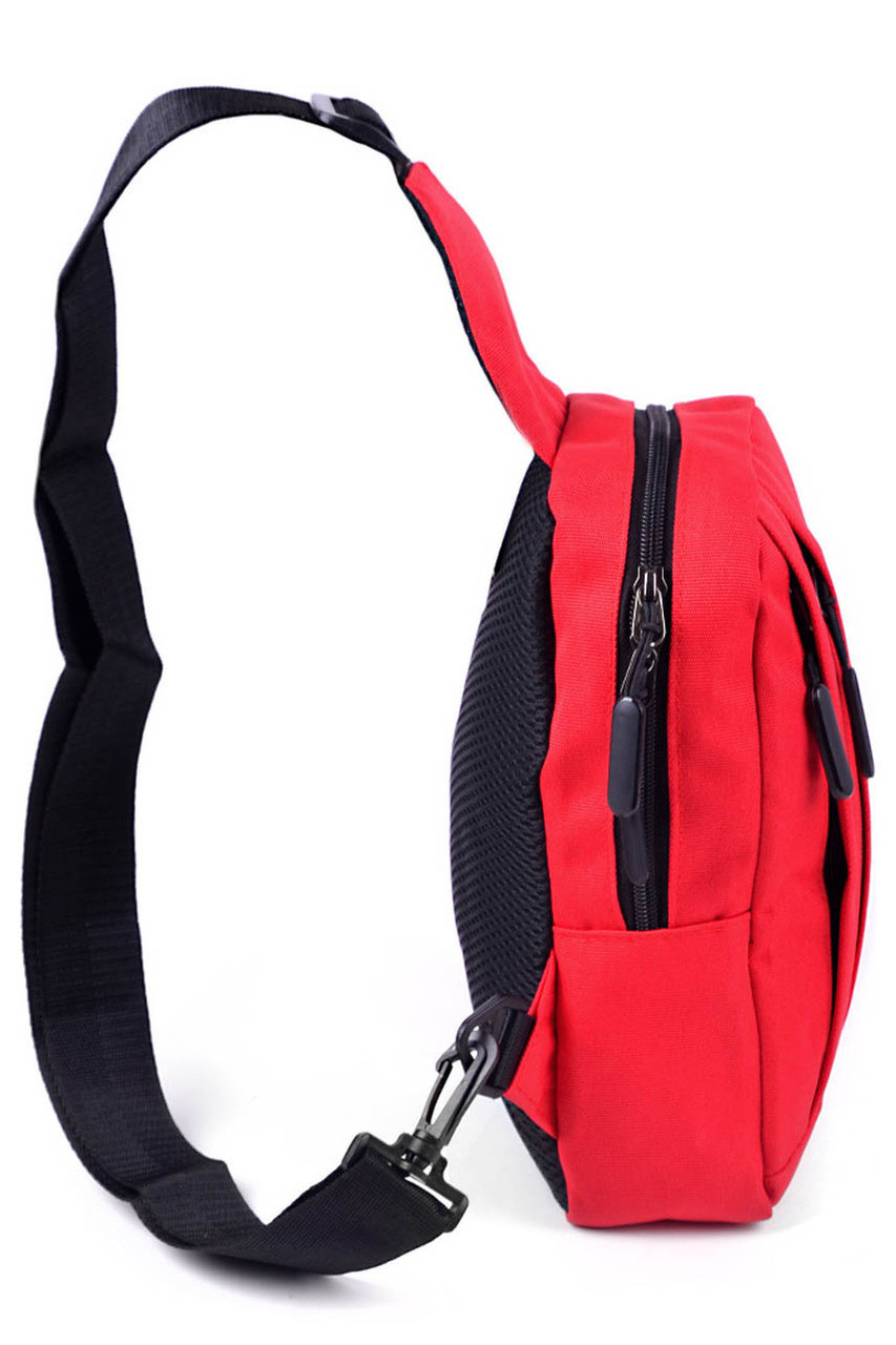 Right side of Red Cotton Crossbody Sling Bag with Reversible Strap - 3 Colors