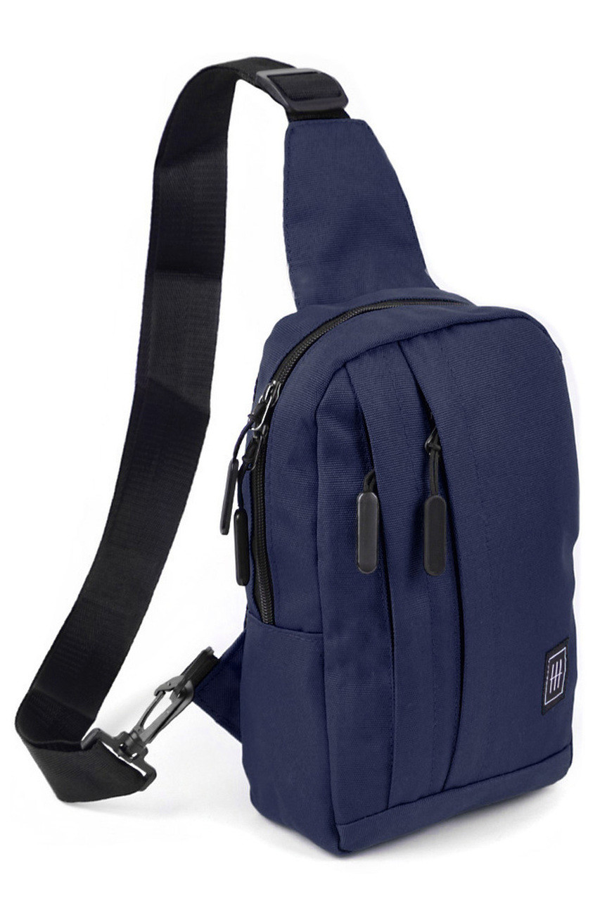 45 degree view of Navy Cotton Crossbody Sling Bag with Reversible Strap