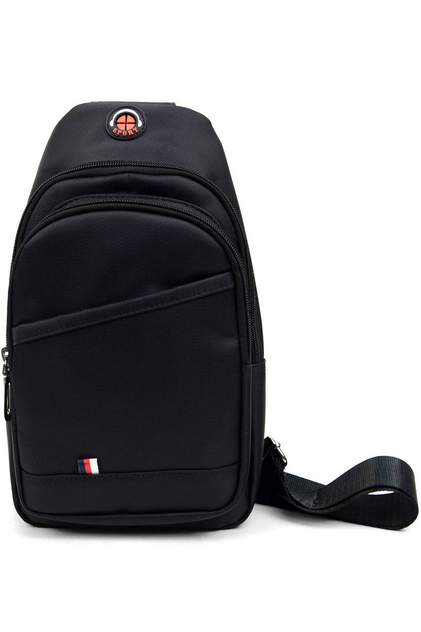 Front of Black Nylon Sport Crossbody Sling Bag with Headphone Hole showing two zipper compartments and a front pocket