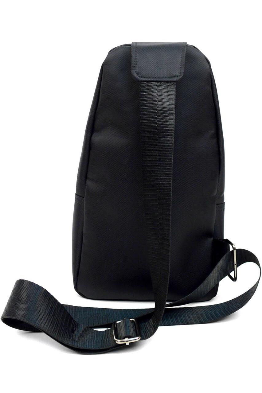 Back of Black Nylon Sport Crossbody Sling Bag with Headphone Hole showing adjustable strap