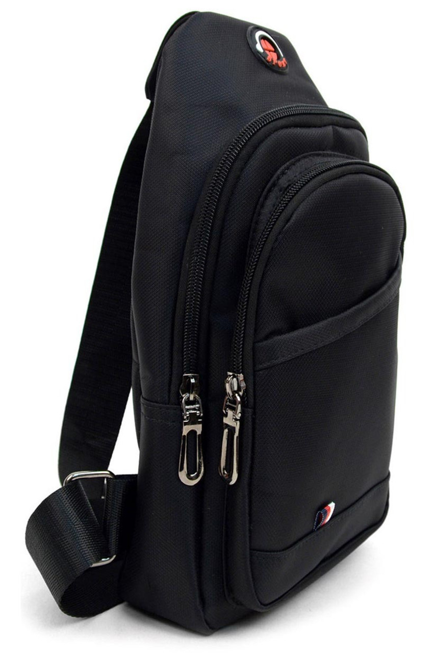 Right side of Black Nylon Sport Crossbody Sling Bag with Headphone Hole - 3 Colors