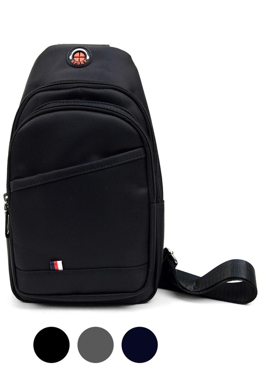 Front view of Black Nylon Sport Crossbody Sling Bag with Headphone Hole with color option swatches below.
