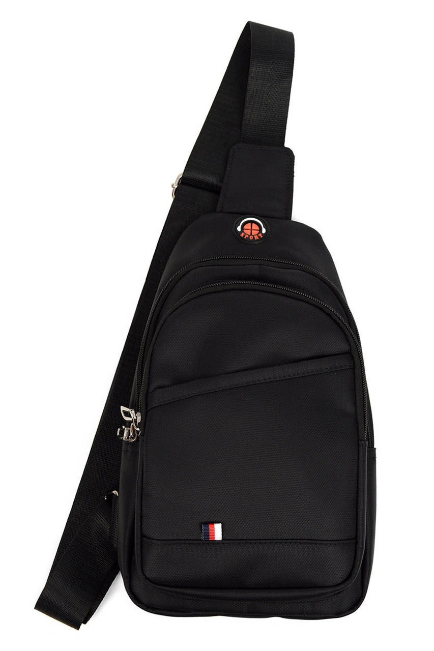 Front on view with strap showing of of Black Nylon Sport Crossbody Sling Bag with Headphone Hole - 3 Colors