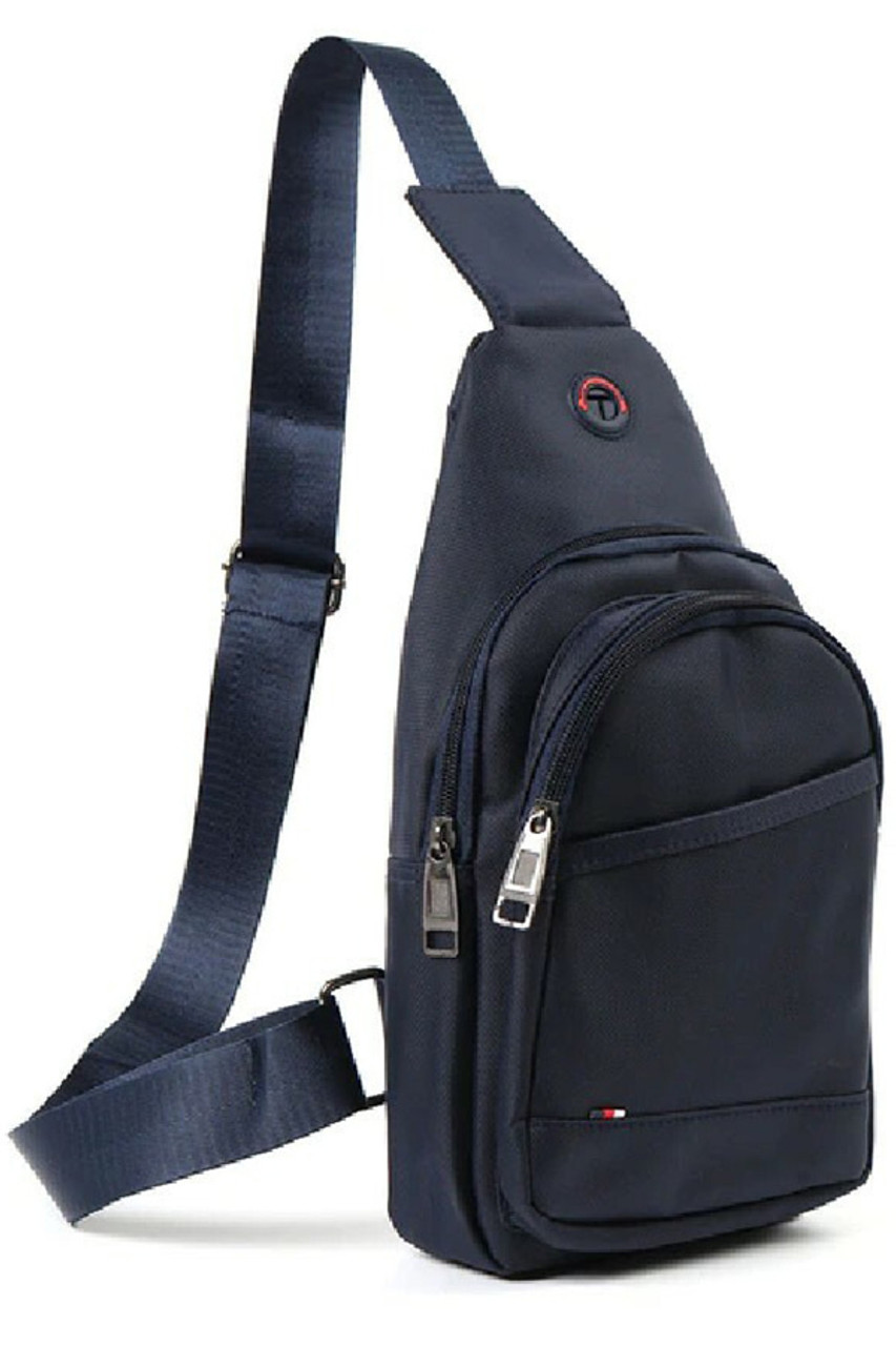 45 degree view of Navy Nylon Sport Crossbody Sling Bag with Headphone Hole - 3 Colors