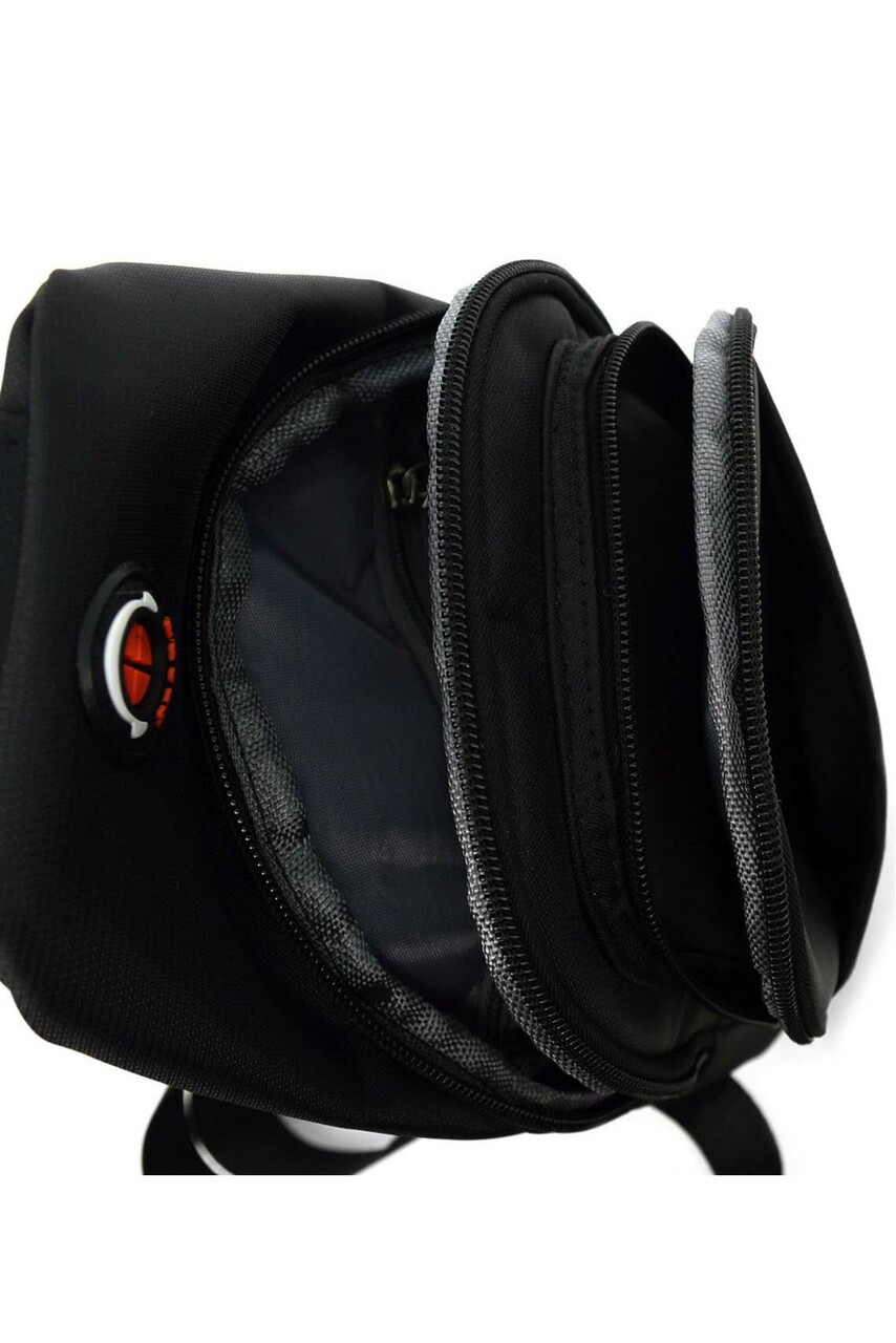 Above view of Nylon Sport Crossbody Sling Bag with Headphone Hole - 3 Colors showing all compartments open