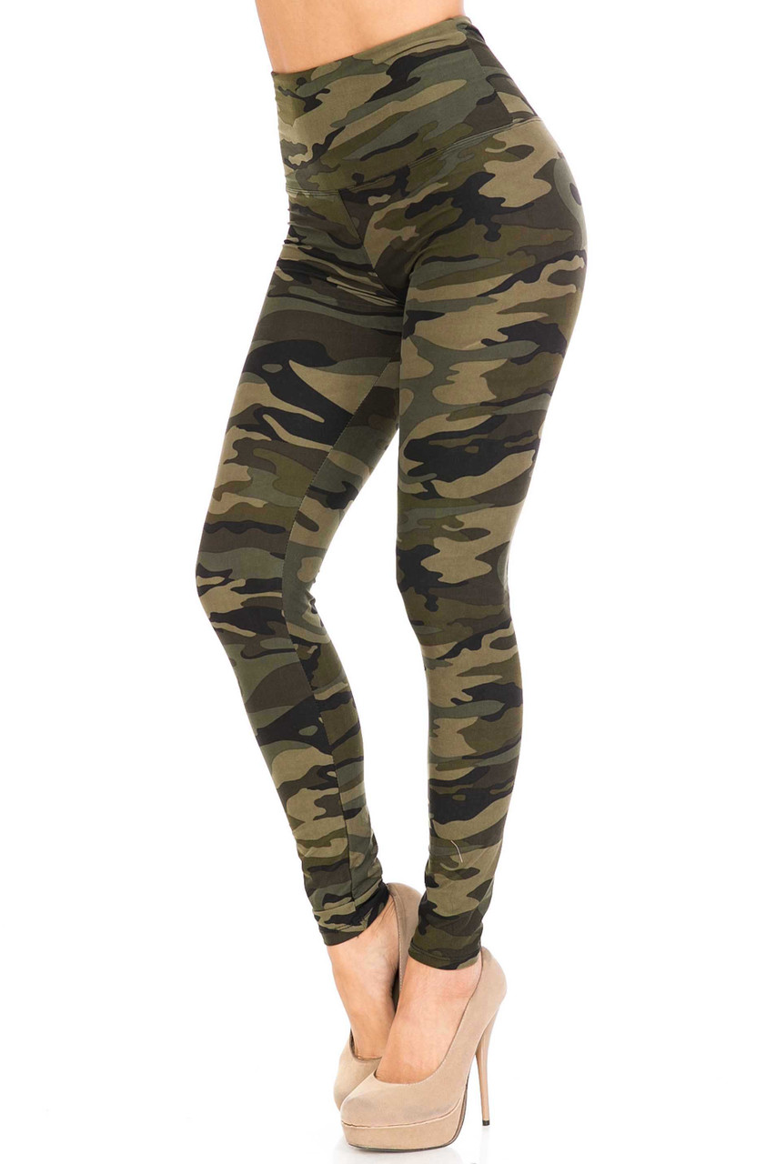 45 degree/left side view of Buttery Soft Green Camouflage High Waist Leggings with an olive army print design.
