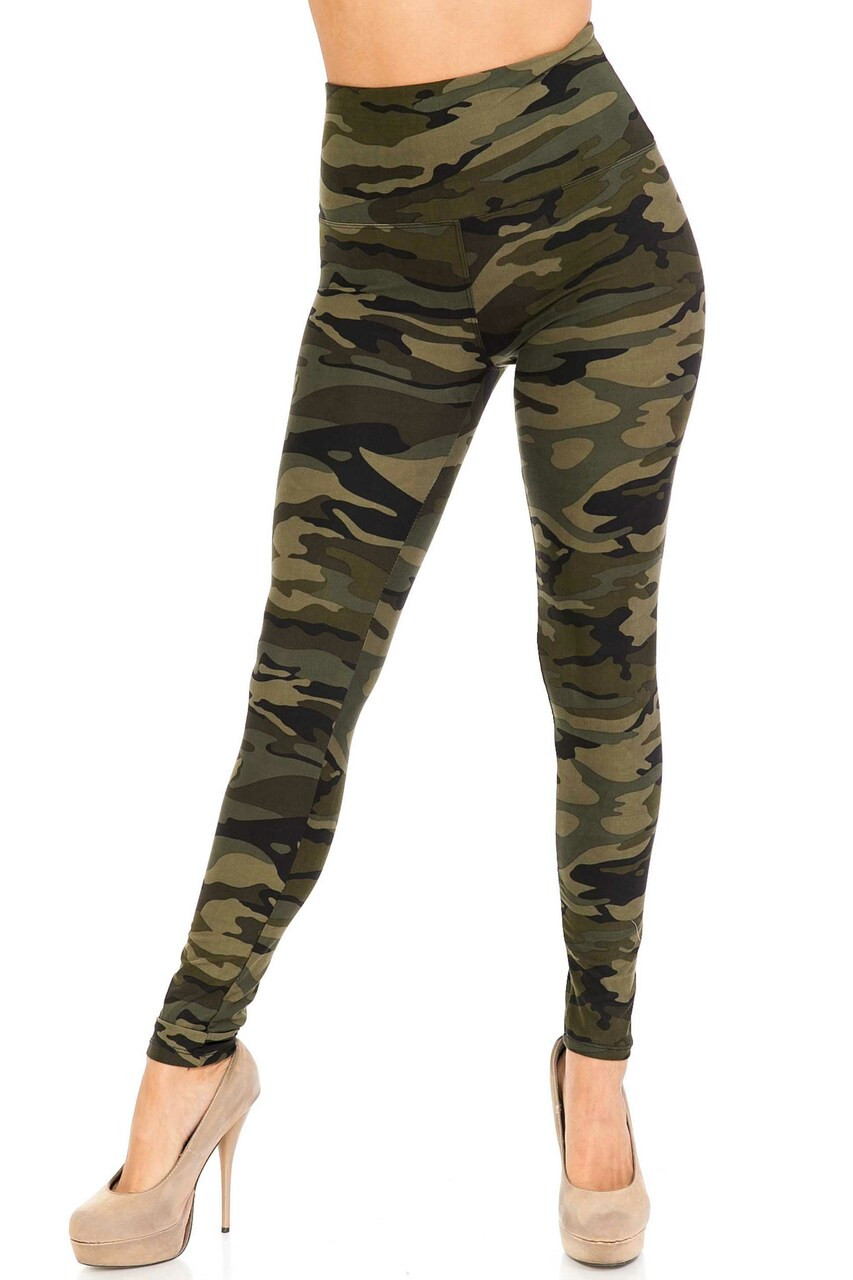 Front side of Buttery Soft Green Camouflage High Waist Leggings - 5 Inch Waist Band