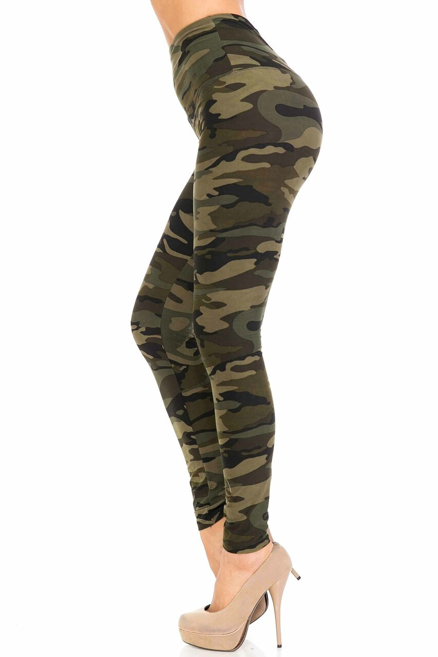 Left side of Buttery Soft Green Camouflage High Waist Leggings - 5 Inch Waist Band with a comfortable silky soft fabric.