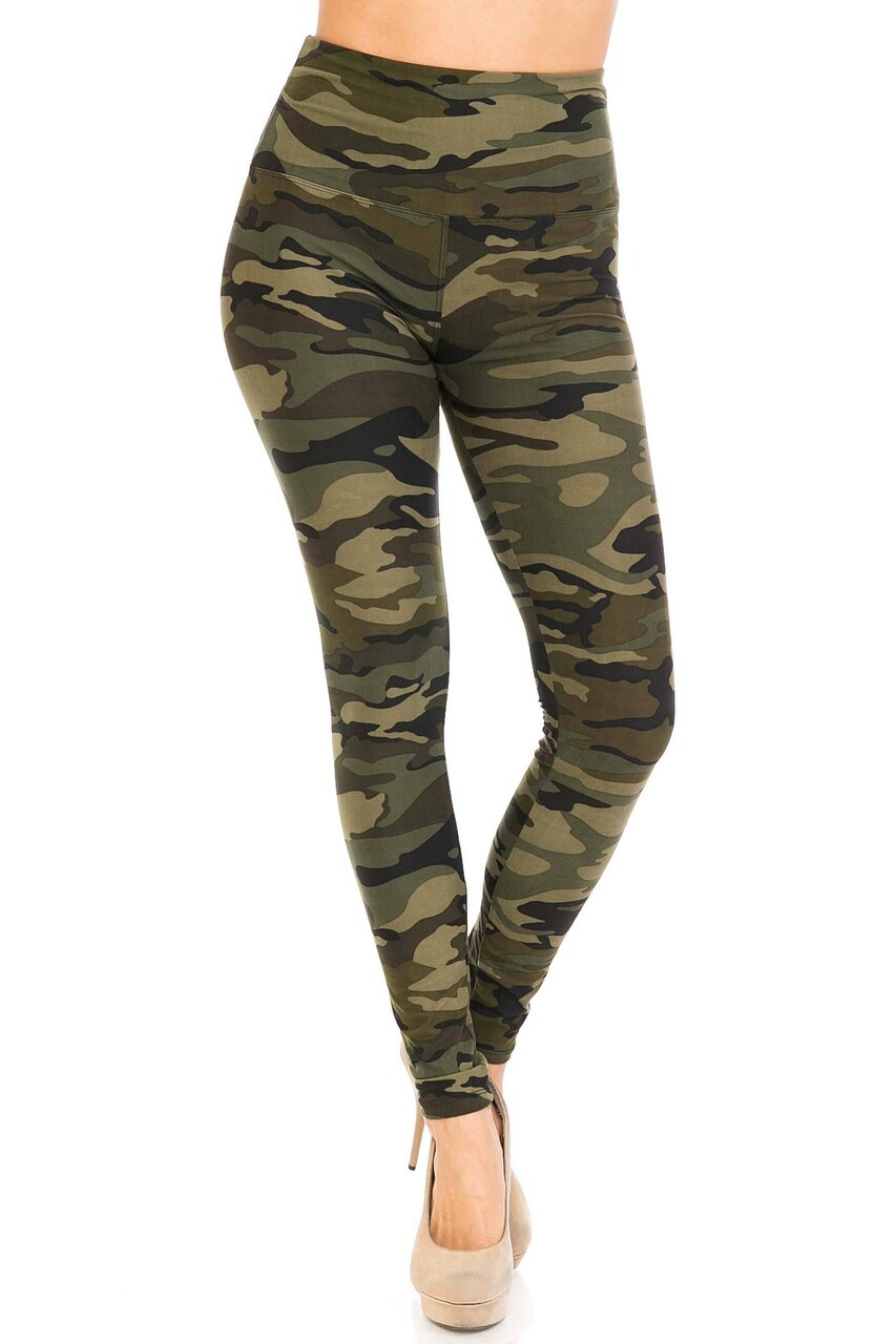 Front side image of Buttery Soft Green Camouflage High Waist Leggings - 5 Inch Waist Band