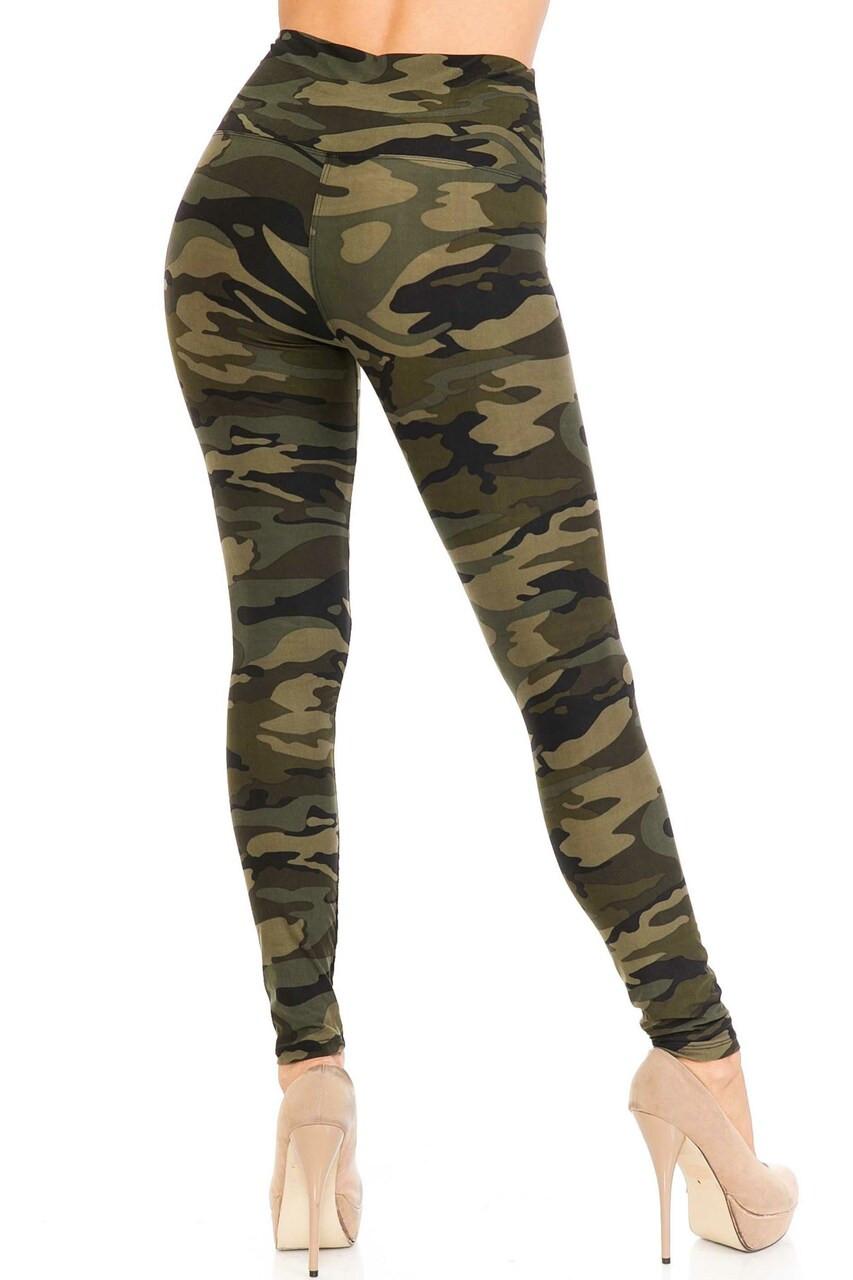 Buttery Soft Green Camouflage High Waist Leggings - 5 Inch Waist Band