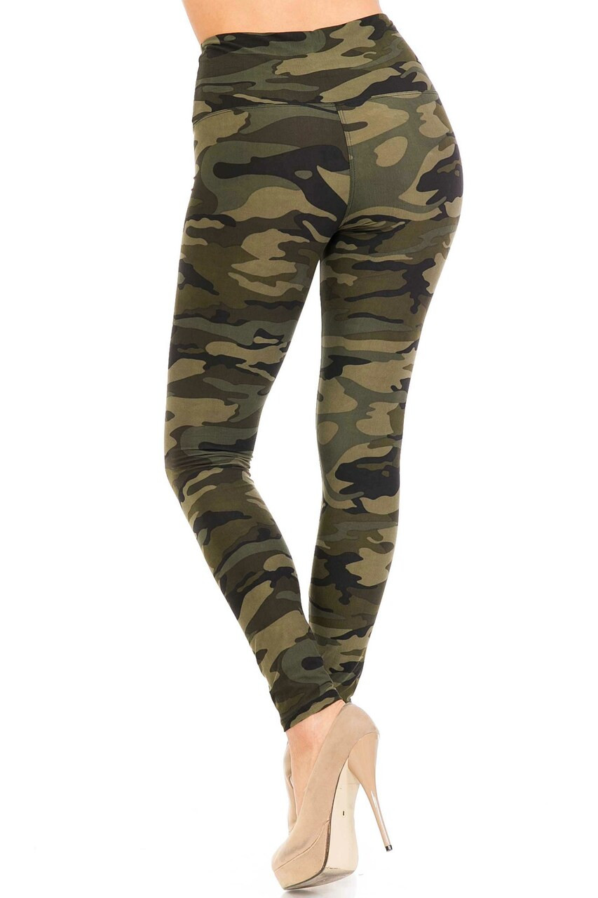 Back side image of Buttery Soft Green Camouflage High Waist Leggings - 5 Inch Waist Band