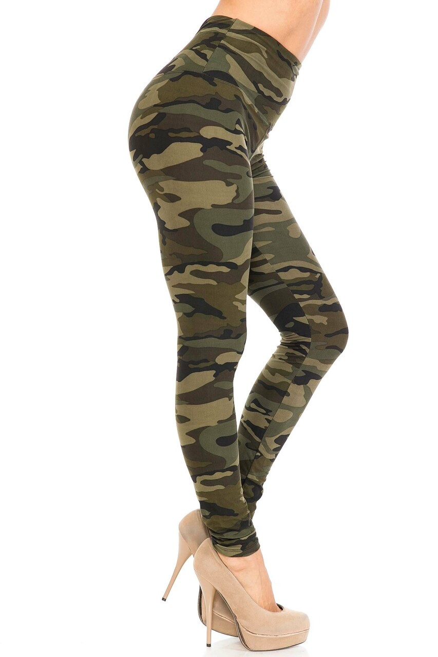 Right side of Buttery Soft Green Camouflage High Waist Leggings - 5 Inch Waist Band