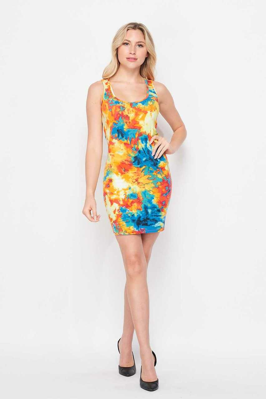 Front of Yellow Tie Dye Bodycon Summer Dress shown styles with Black heels