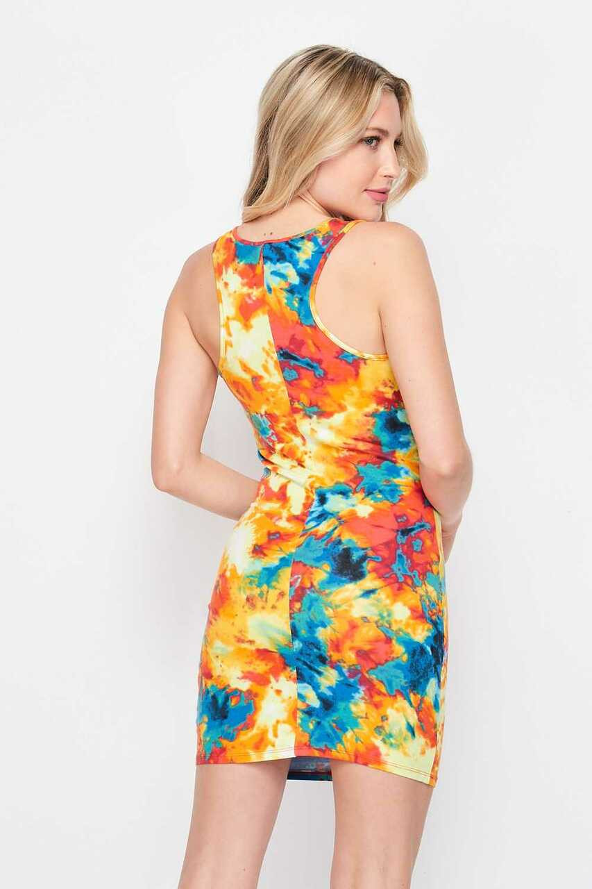 Back side image Yellow Tie Dye Bodycon Summer Dress with racer back strap design.