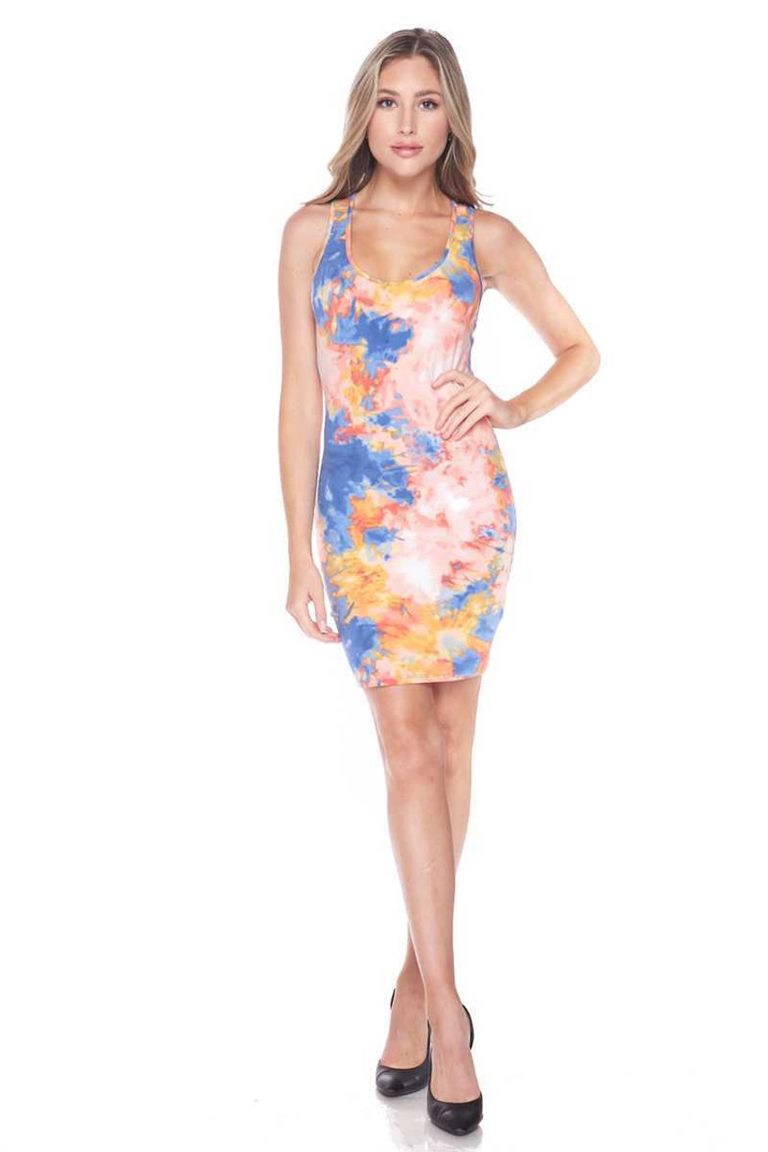 Front of Pink Tie Dye Bodycon Summer Dress shown styles with Black heels