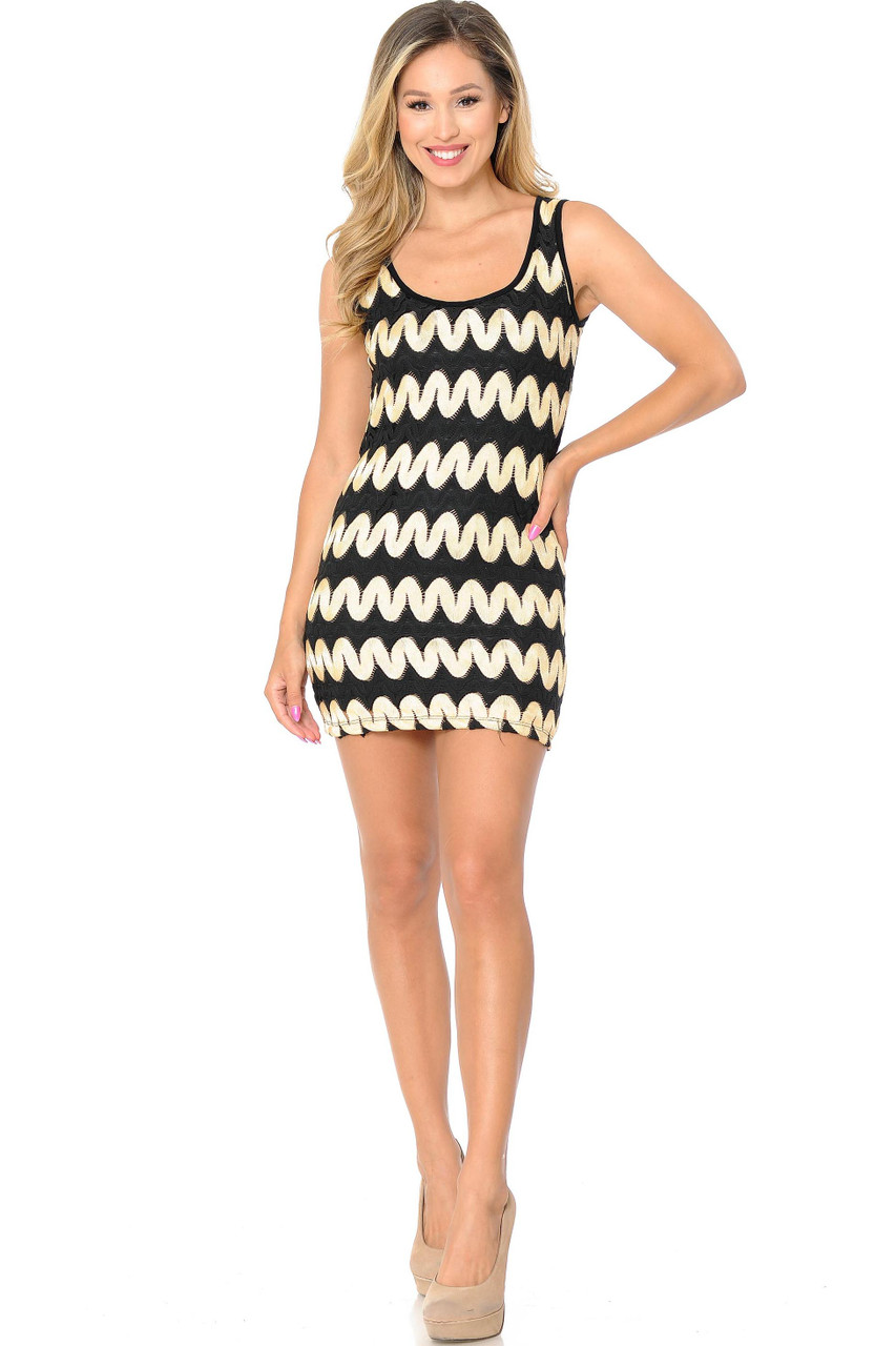 Front of gold  Sassy Chevron Summer Mini Dress with a black and gold horizontal zigzag design.