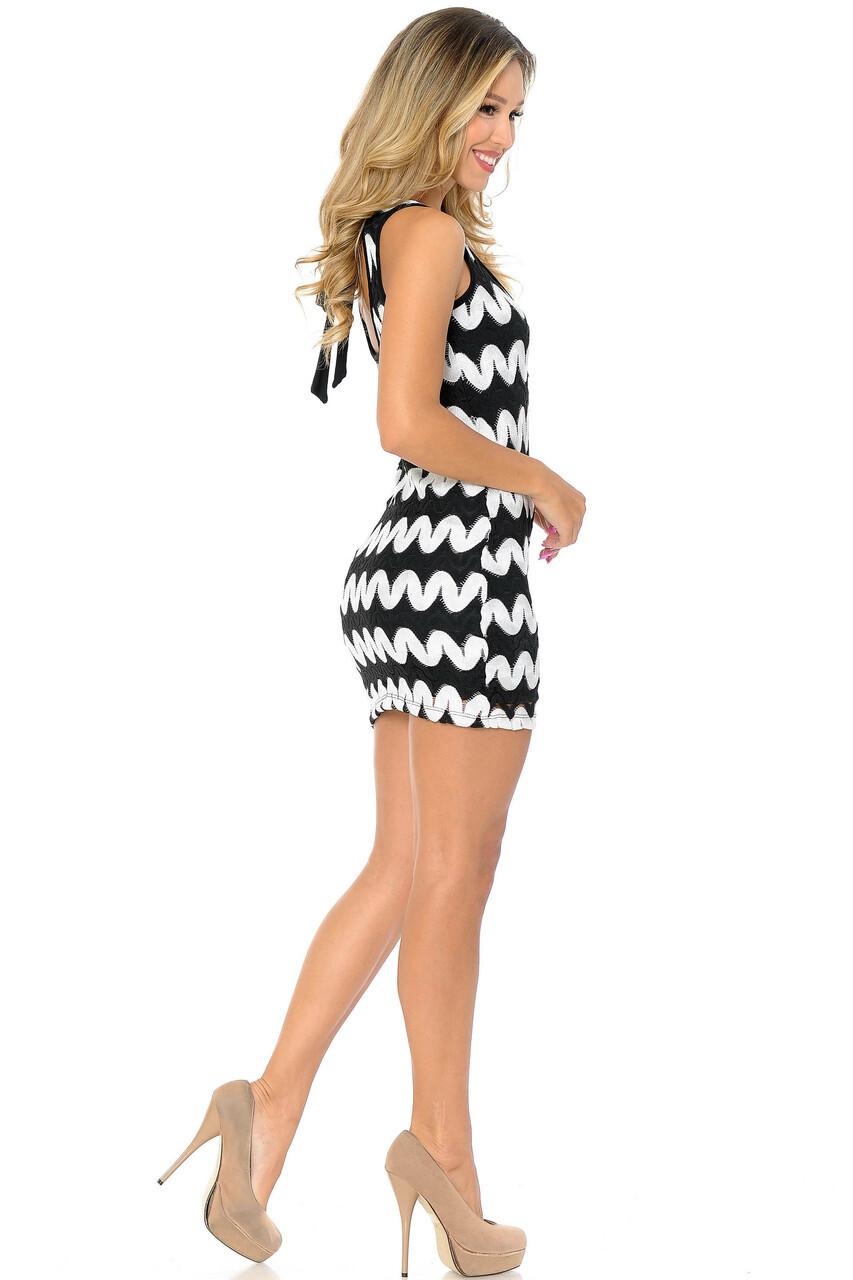 Right side of White Sassy Chevron Summer Mini Dress