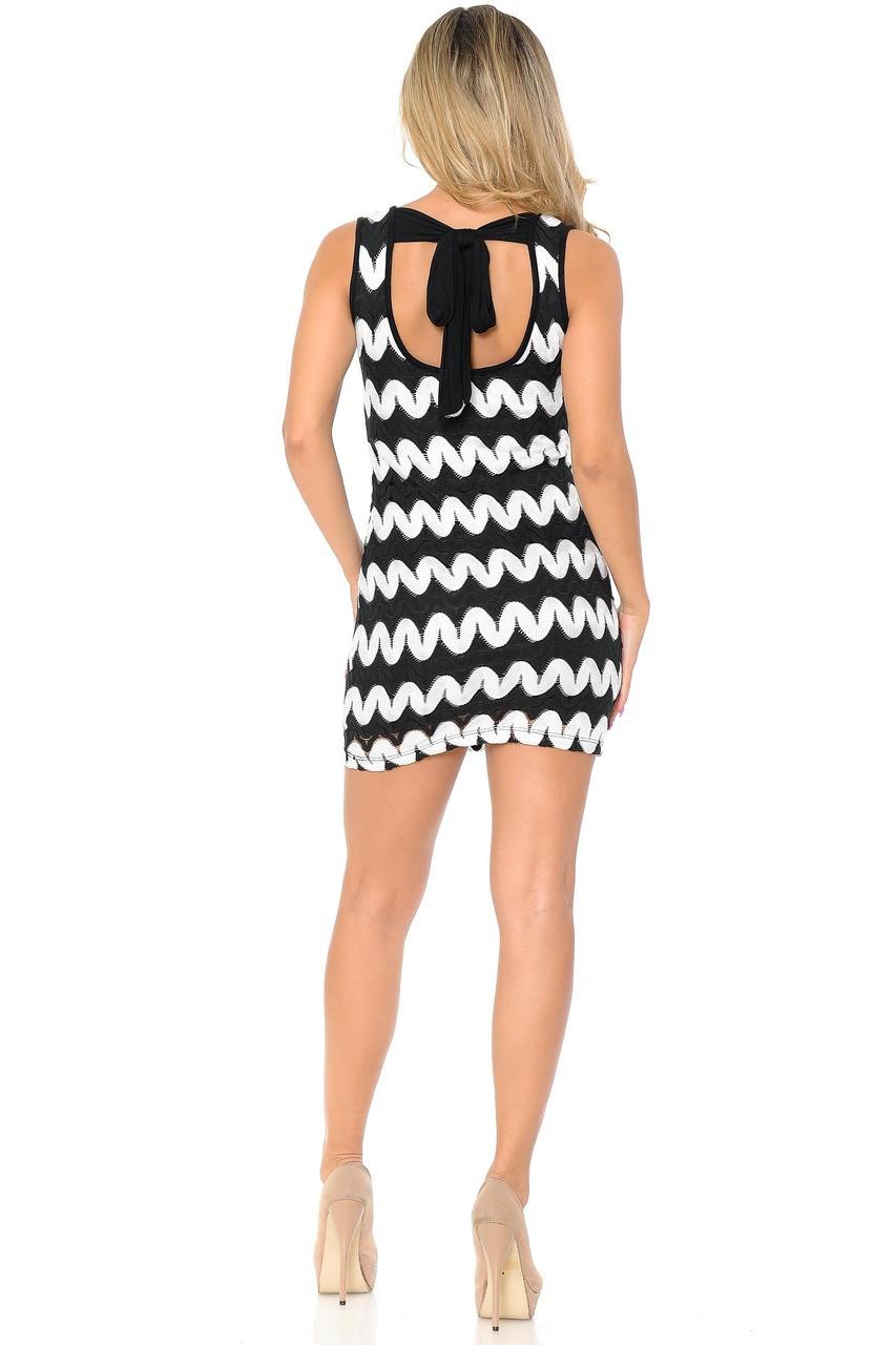 Back of White Sassy Chevron Summer Mini Dress with tie detail