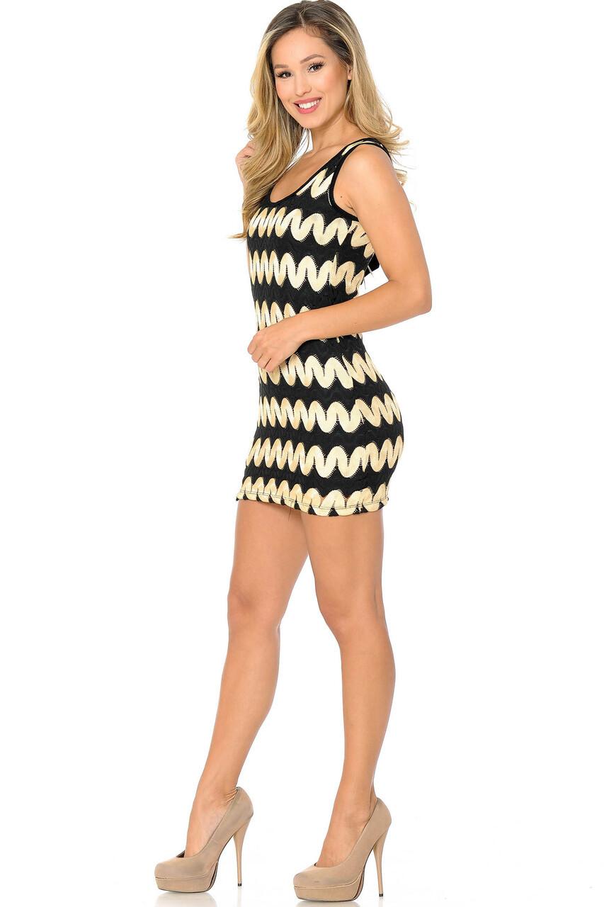 45 degree view of Gold Sassy Chevron Summer Mini Dress