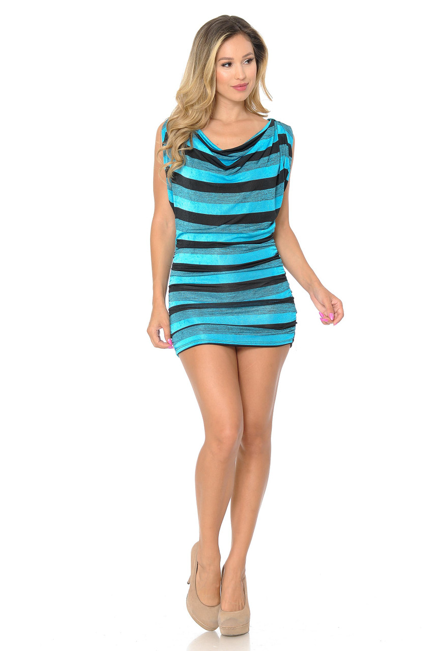 Front side image of Blue Cool Stripes Mini Dress shown styled with nude heels.