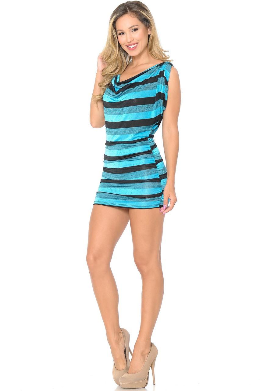45 degree view of Cool Stripes Mini Dress