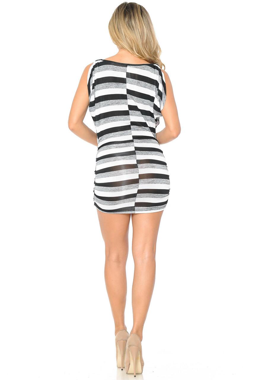 Back side image of White Cool Stripes Mini Dress