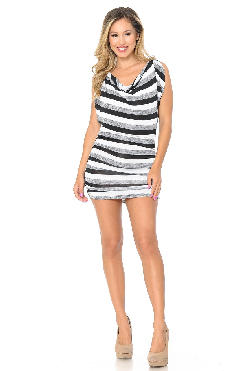 Front of White Cool Stripes Mini Dress with a black, white, and gray color scheme.