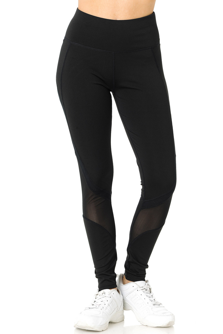 Front of Black Premium Panel Mesh Sport Workout Leggings with sheer mesh accents.