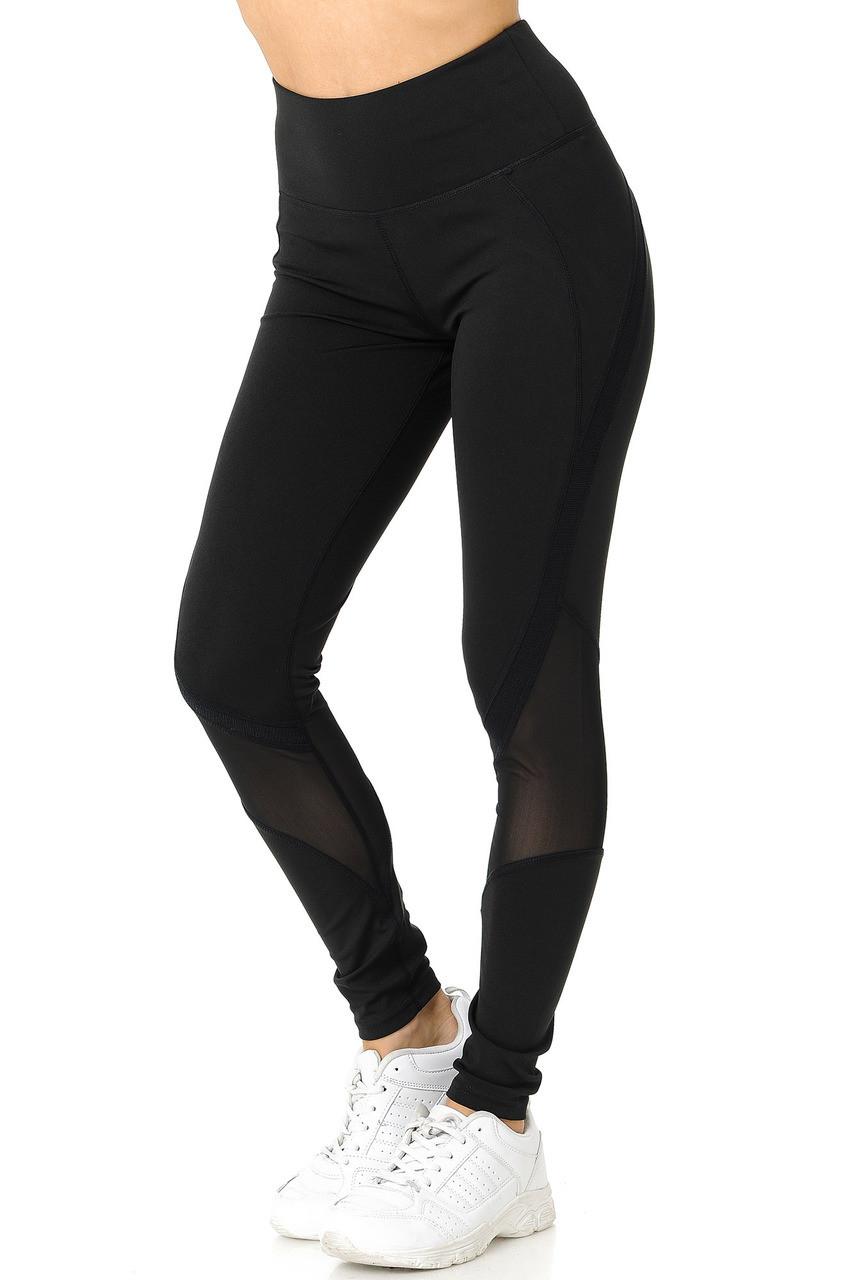 45 degree view of Black Premium Panel Mesh Sport Workout Leggings