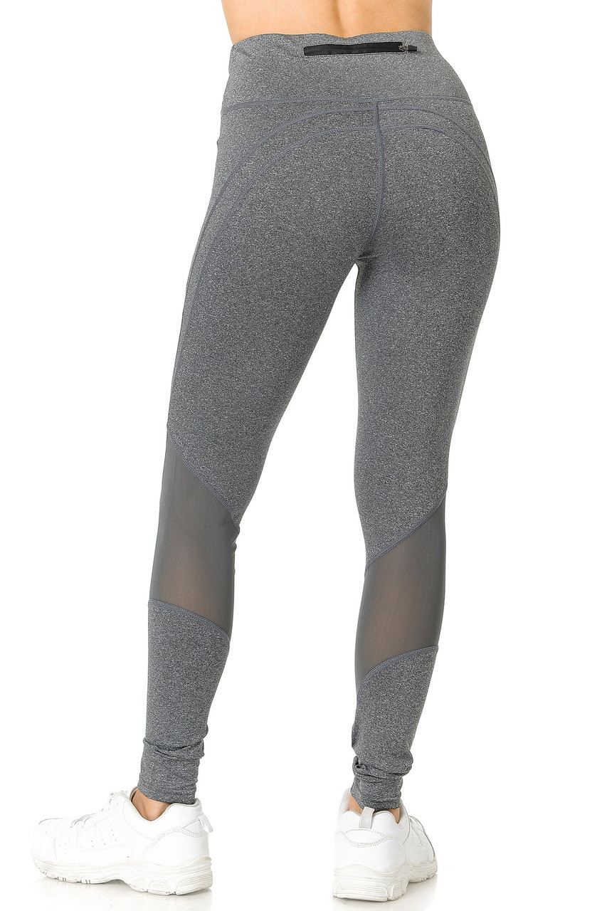 Back side image of  Heather Gray Premium Panel Mesh Sport Workout Leggings showing sheer accents on the calves