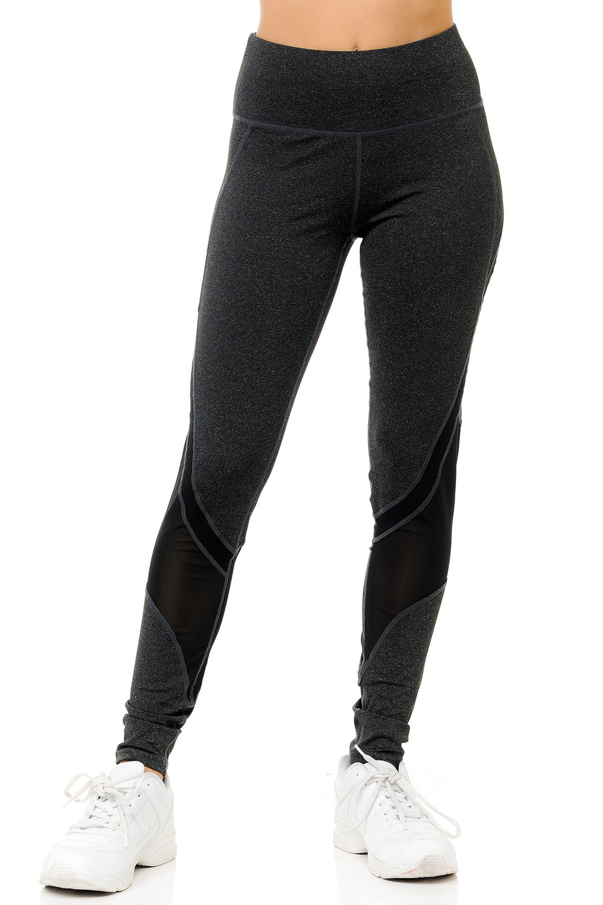 Front of black Premium Panel Mesh Sport Workout Leggings with a supportive high waist design.