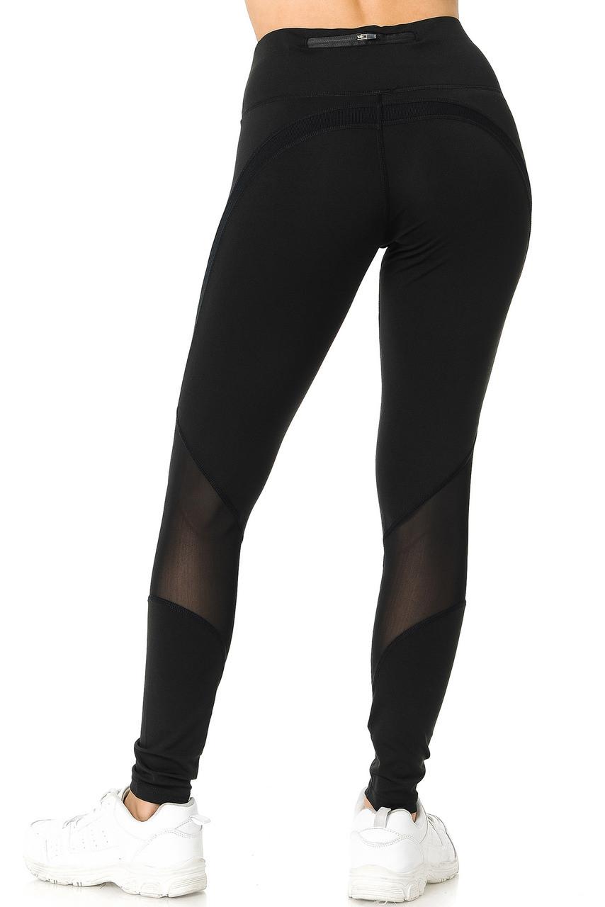Back side of black Premium Panel Mesh Sport Workout Leggings
