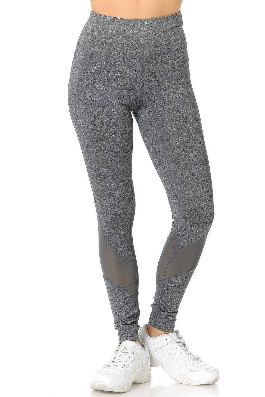 Front side of heather gray Premium Panel Mesh Sport Workout Leggings