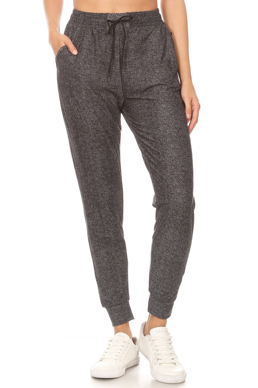 Front of Buttery Soft Textured Herringbone Plus Size Joggers with a charcoal color scheme and subtle herringbone design.