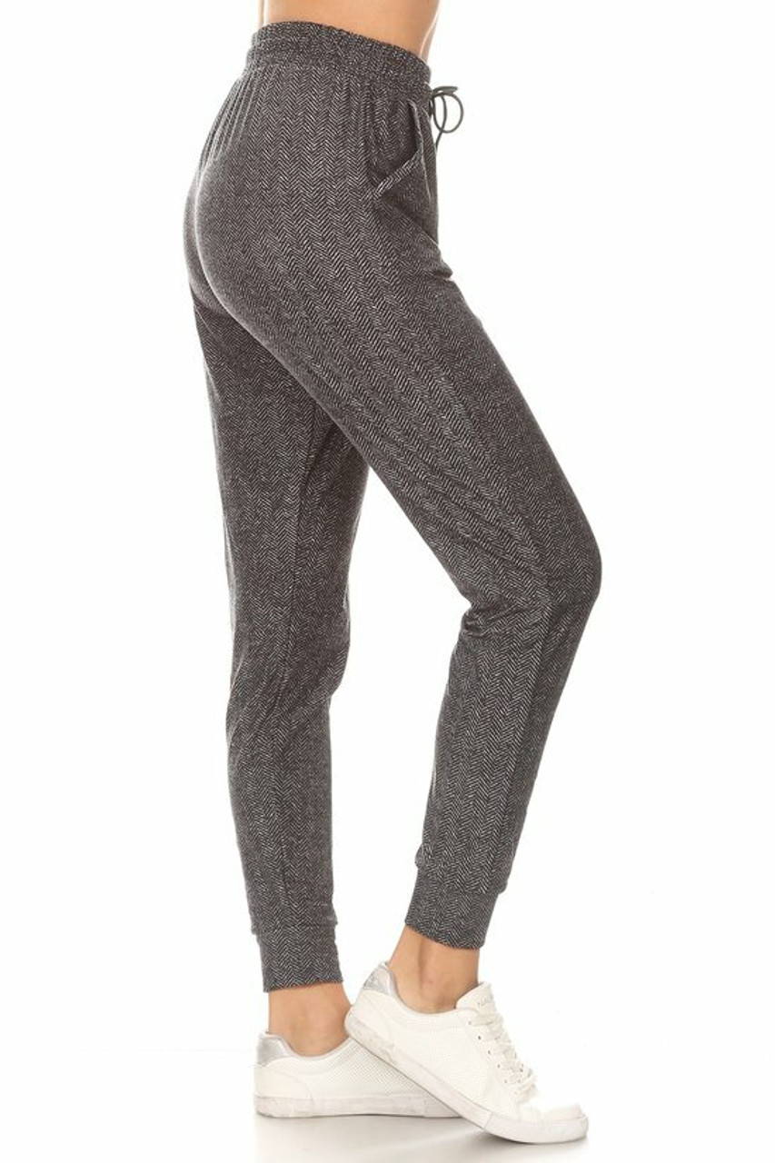 Right side image of Buttery Soft Textured Herringbone Plus Size Joggers