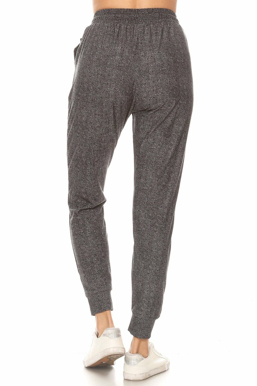 Backs die image of Buttery Soft Textured Herringbone Plus Size Joggers with a comfortable relaxed fit.