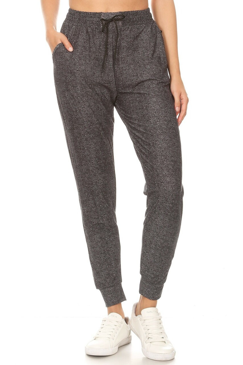 Front side image of Buttery Soft Textured Herringbone Plus Size Joggers