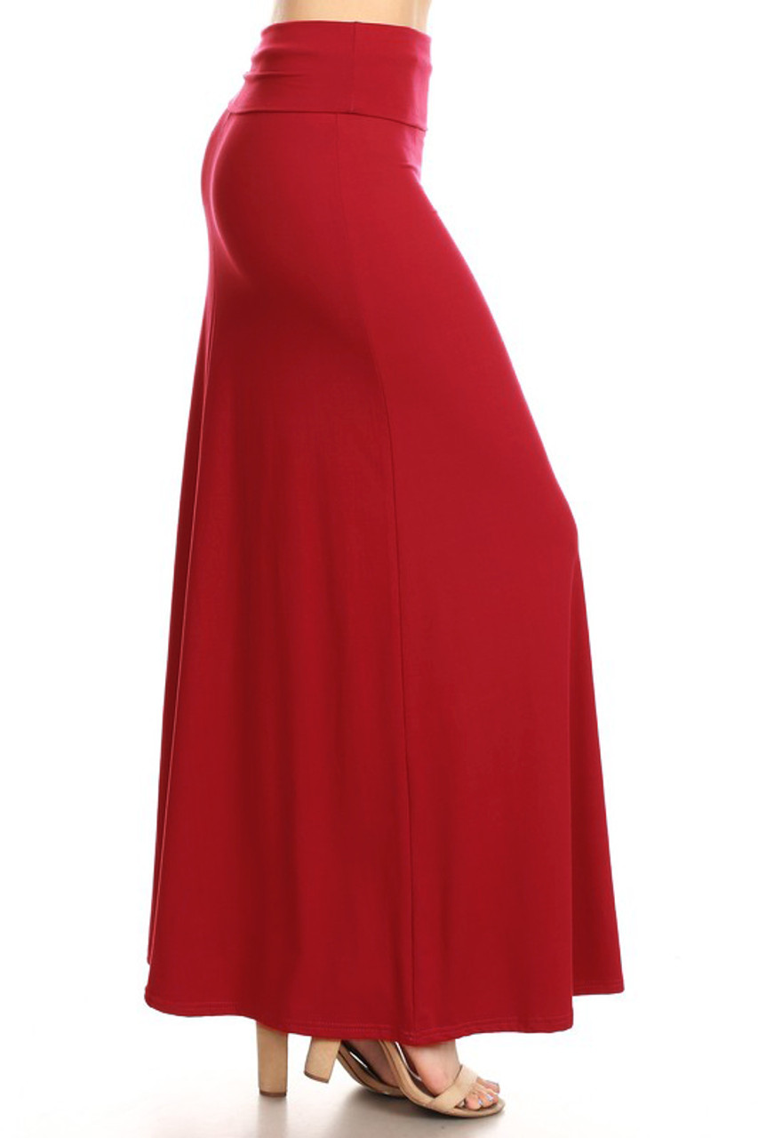 Right side of Buttery Soft Solid Red Maxi Skirt with a versatile design that easily blends into any style of wardrobe.