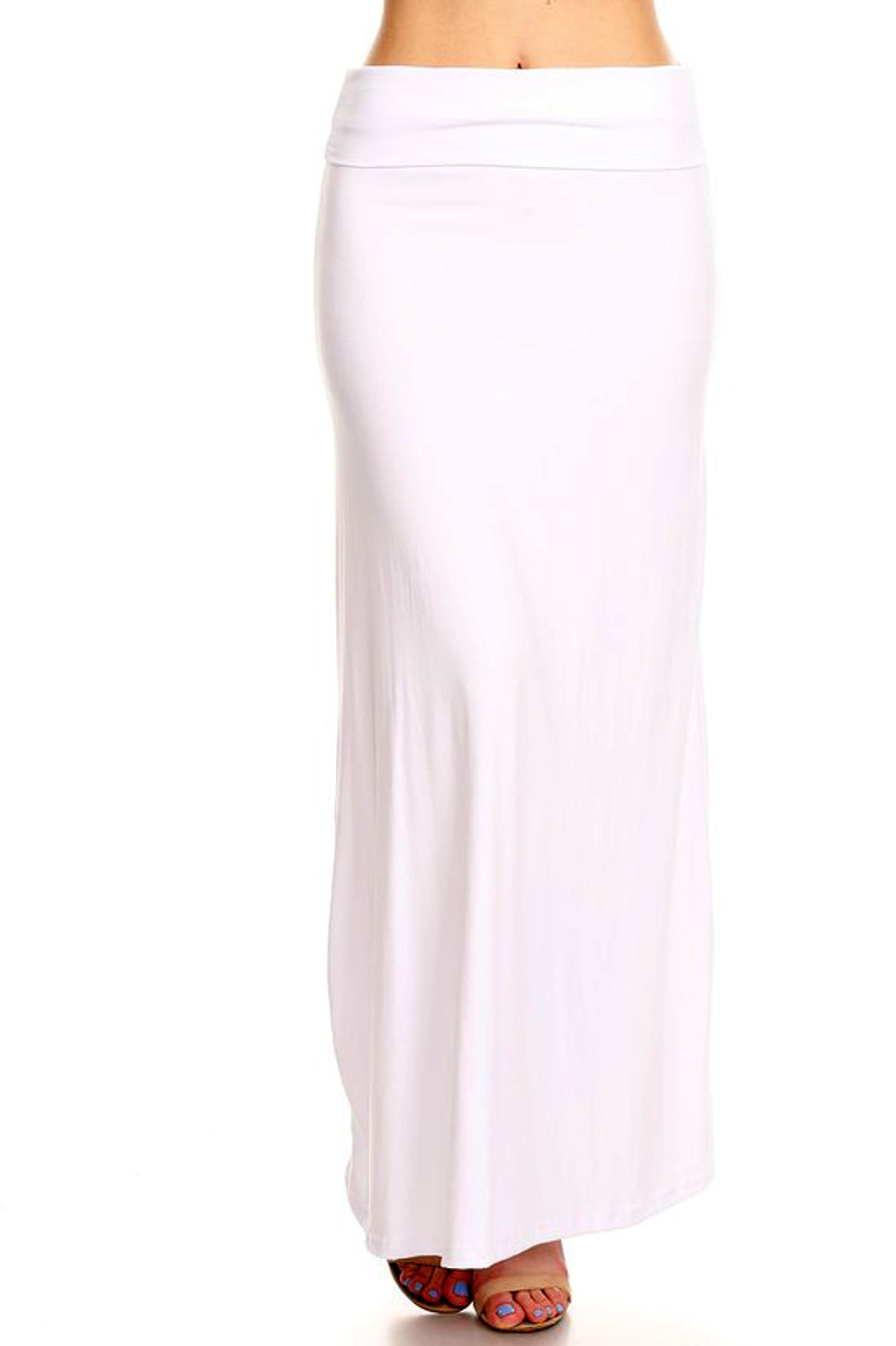 Buttery Soft Solid White Plus Size Maxi Skirt with a basic but fabulous look and high fabric waist design.