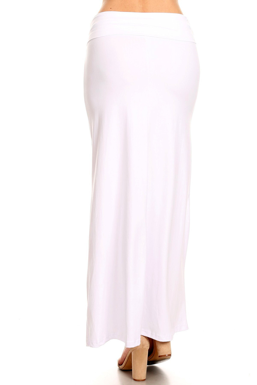 Back side image of Buttery Soft Solid White Plus Size Maxi Skirt with a long below ankle length hem.