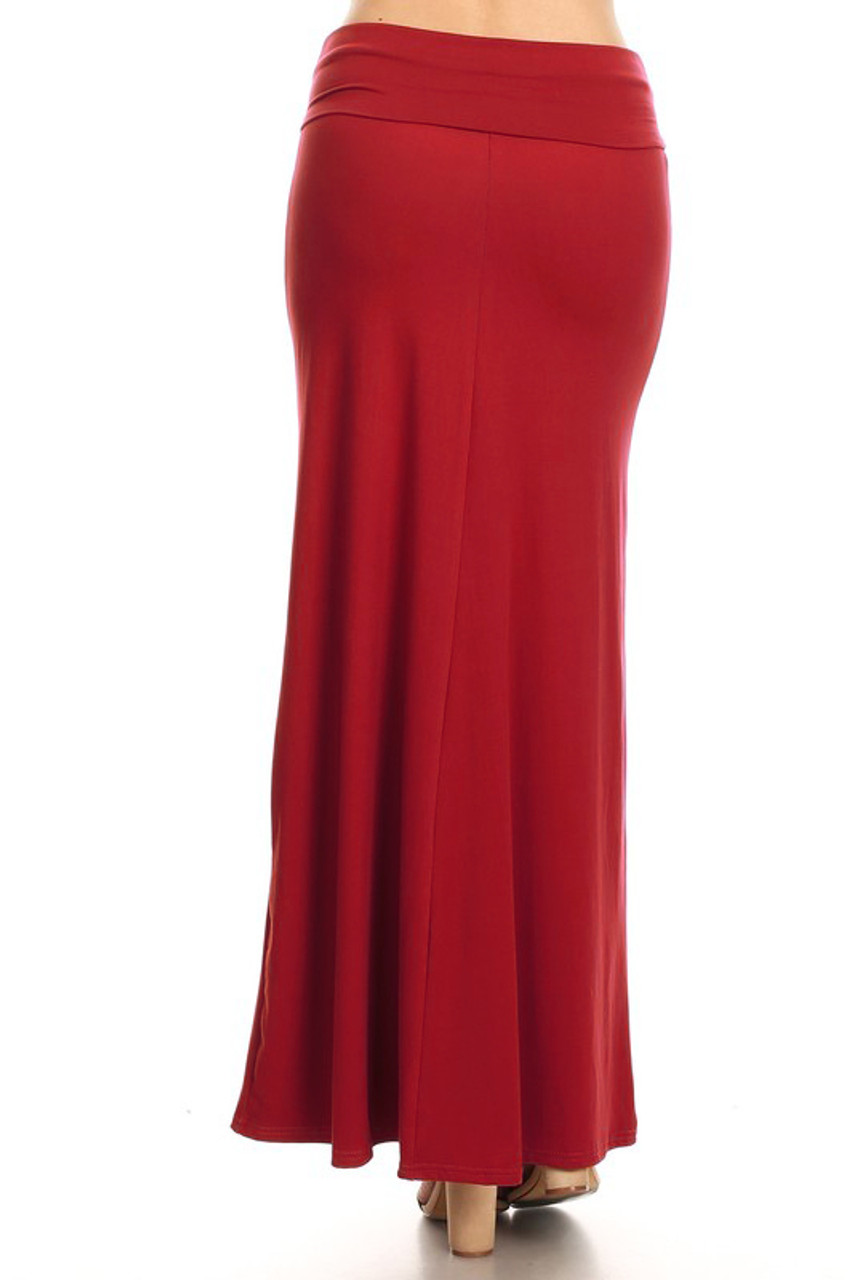 Back side image of Buttery Soft Solid Red Plus Size Maxi Skirt