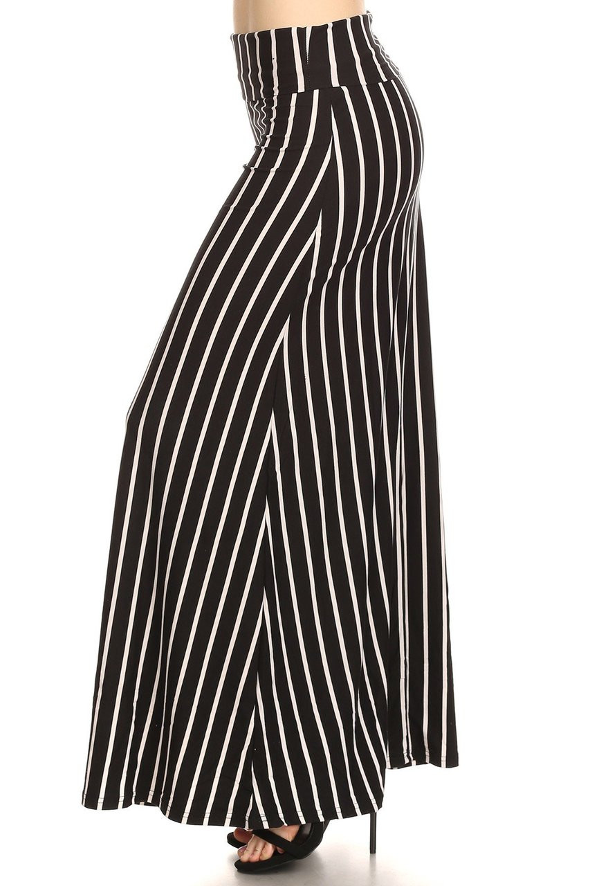 Left side image of Buttery Soft Black Pinstripe Plus Size Maxi Skirt  with a flattering elongating design.