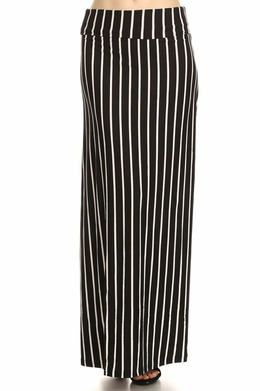 Front of Buttery Soft Black Pinstripe Plus Size Maxi Skirt with a flattering high fabric waist.