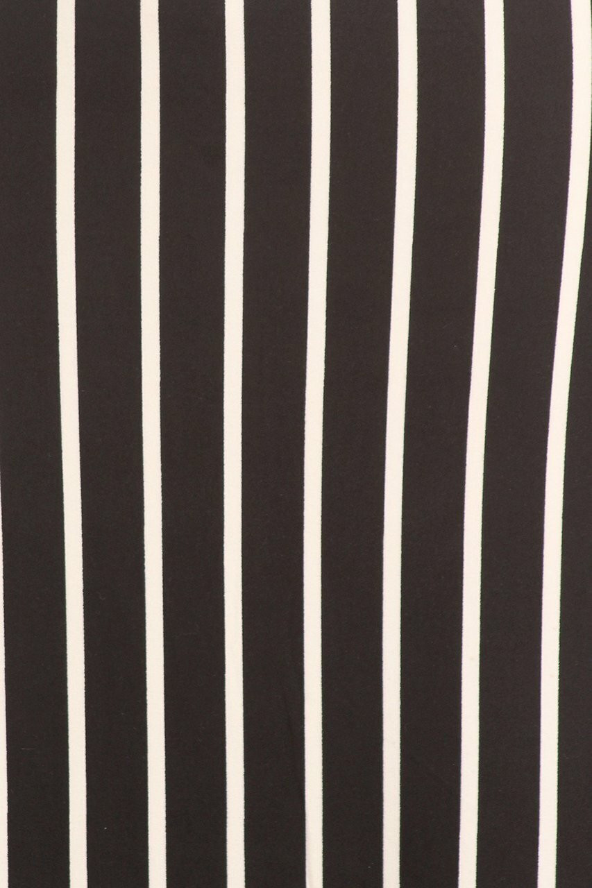 Close-up fabric swatch of Buttery Soft Black Pinstripe Plus Size Maxi Skirt
