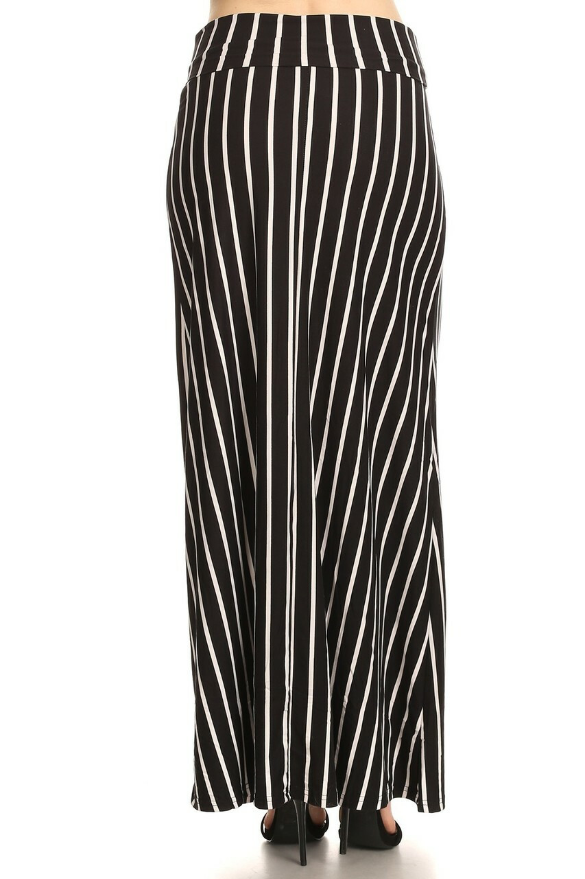 Back side image of Buttery Soft Black Pinstripe Plus Size Maxi Skirt  with a versatile black and white design that is easy to coordinate with a top of any color.