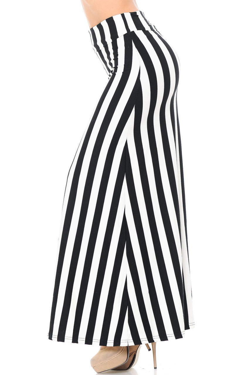 Left side image of Buttery Soft Black and White Wide Stripe Plus Size Maxi Skirt with a flattering elongating design.