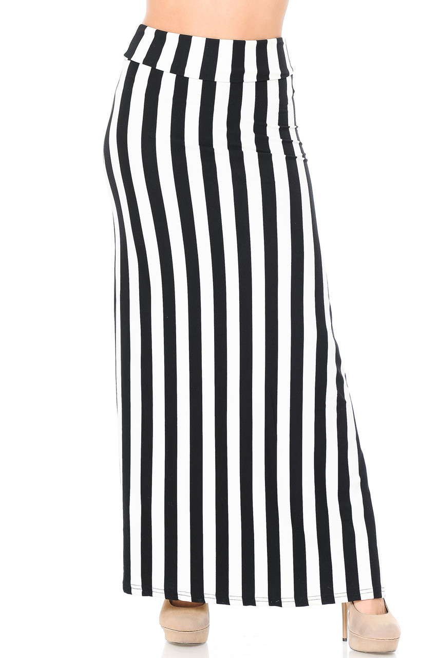 Front of Buttery Soft Black and White Wide Stripe Plus Size Maxi Skirt with a flattering high fabric waist.